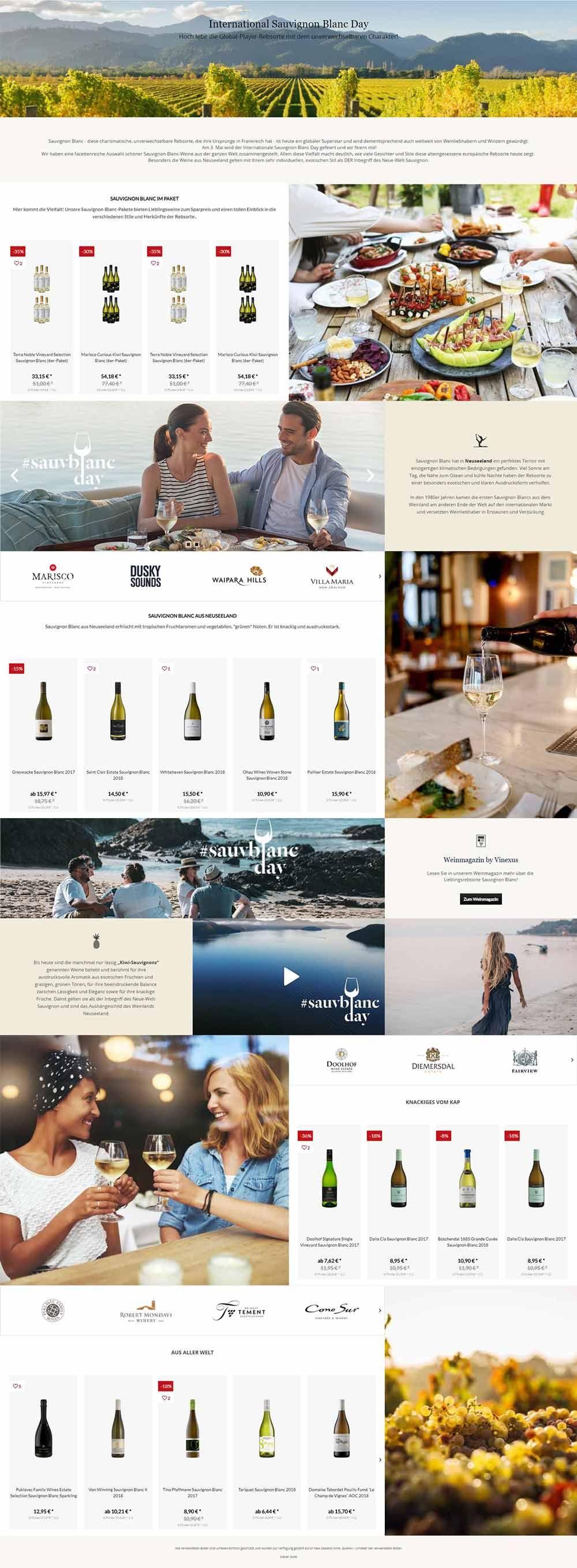 Vinexus Sauvignon Blanc Day Landingpage